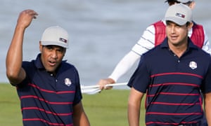 Tony Finau reacts after making a putt on the 13th hole.