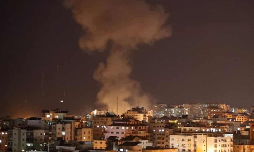 Smoke rises after an Israeli airstrike in Gaza