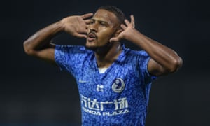 Salomón Rondón celebrates after scoring for Dalian Pro in September. He has nine goals from his past 14 games.