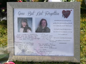 Tributes left outside a house in Spalding, Lincolnshire, where the bodies of Elizabeth Edwards and Katie were found.