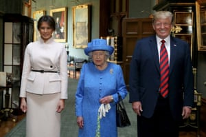The Queen with Donald and Melania Trump during their visit to Windsor Castle