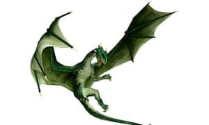 3D illustration green fantasy dragon