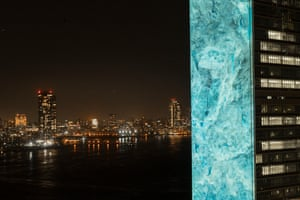 The immersive art installation consists of large projections covering the outside of the UN with images of a massive iceberg, setting the scene for the voices of six young advocates, including Swedish student activist Greta Thunberg, commenting on the nature of the climate crisis and urgent actions that can, and must, be taken to minimise the consequences of climate change