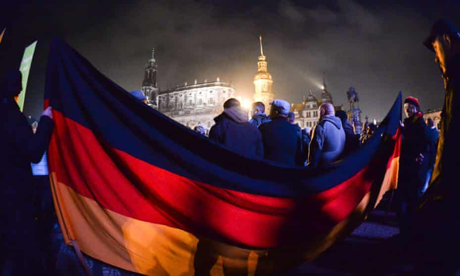 On the rise … Pegida protests in the heart of Dresden.