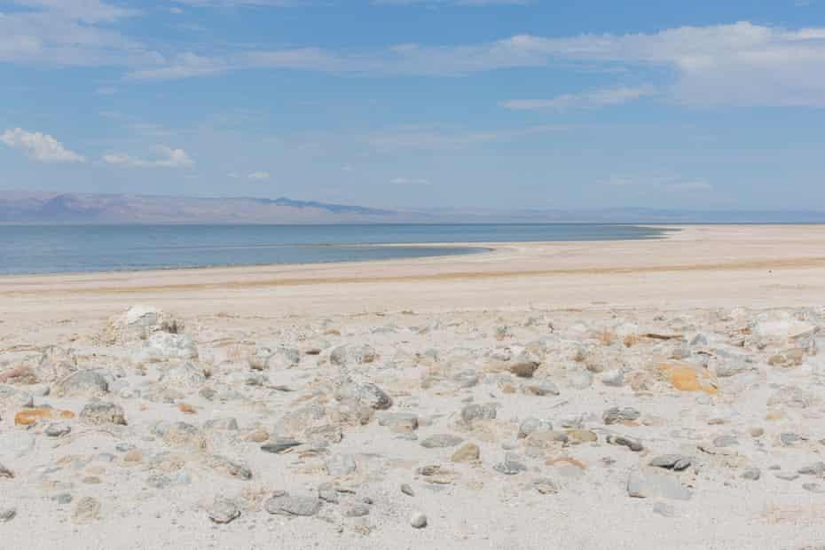 The view from the original shoreline of the Salton Sea in Salton City, California.