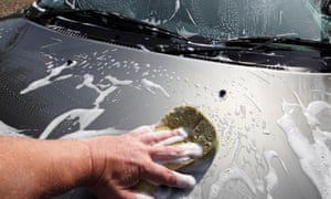 A car being hand washed