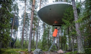 The Treehotel near Luleå features seven cabins suspended in the trees