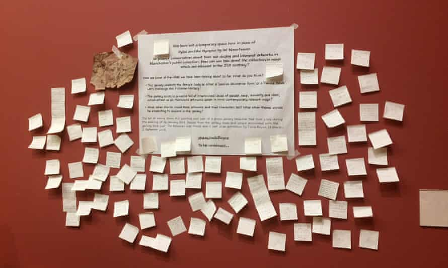 A notice in Manchester Art Gallery explains the temporary removal of John William Waterhouse's 1896 painting Hylas and the Nymphs. The public have responded on Post-it notes.