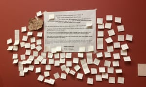 Post-it notes giving views on the removal of Hylas and the Nymphs at, Manchester Art Gallery