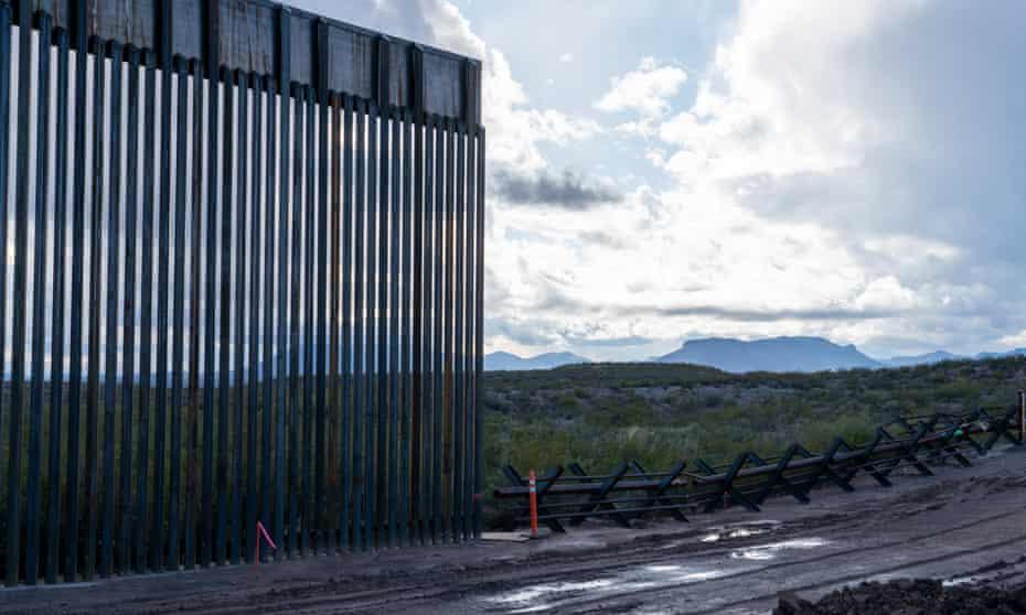 Border wall construction near the San Bernardino national wildlife refuge in Arizona.