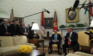 Leo Varadkar meeting President Donald Trump (right) at the White House in Washington