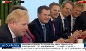 Boris Johnson addressing his new cabinet.