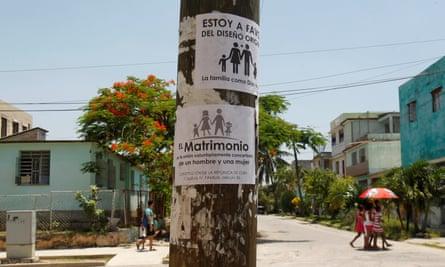 A placard opposing gay marriage is seen on a pole in Havana, Cuba
