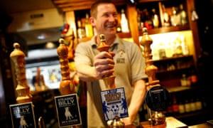 A barman pulls a pint of Vardy's Volley beer at the Dog and Gun pub in Syston near Leicester.