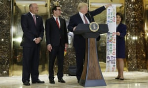 Trump with his flow chart in Trump Tower.