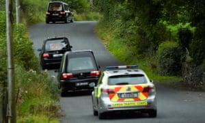 Hearses leaving the Hawes' house in Cavan.
