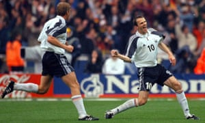 Germany's Dietmar Hamann celebrates after scoring against England.