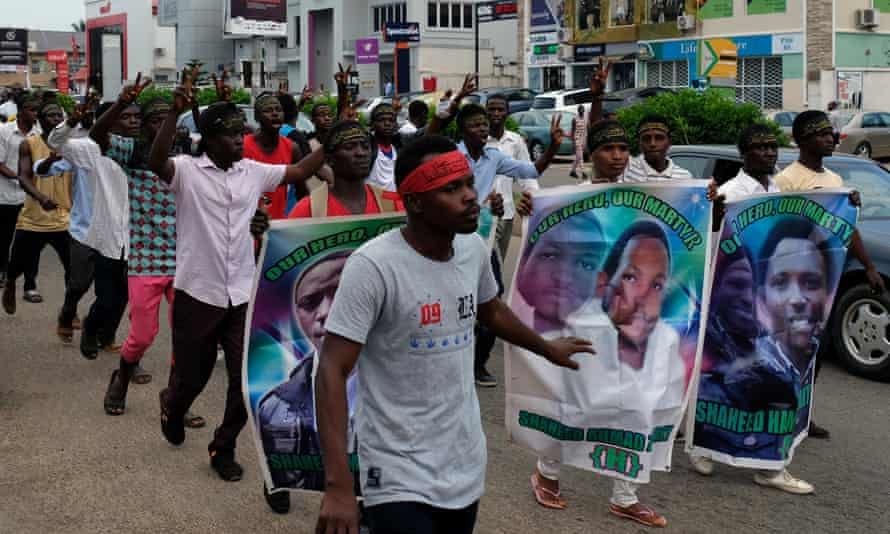 Members of the Islamic Movement of Nigeria during a march to demand the release of the Islamic Movement of Nigeria leader, Ibrahim Zakzaky