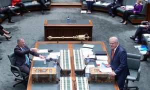 Anthony Albanese and Scott Morrison in question time