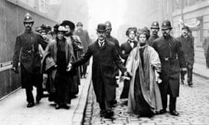 Attention grabbing … Emmeline Pankhurst being arrested in 1910.