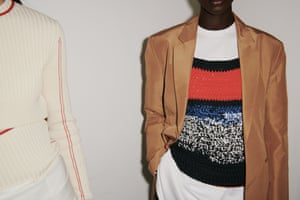 Relaxed knitwear was worn under a sharp tailored blazer and teamed with a wide leg trouser.