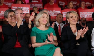 Australian election 2019: Tanya Plibersek, Penny Wong and Chloe Shorten in the Bowman Hall in Blacktown, where Labor held an election rally this afternoon.