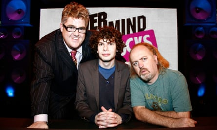 Pop quiz: Amstell (centre) with team captains Phill Jupitus and Bill Bailey on Never Mind The Buzzcocks.