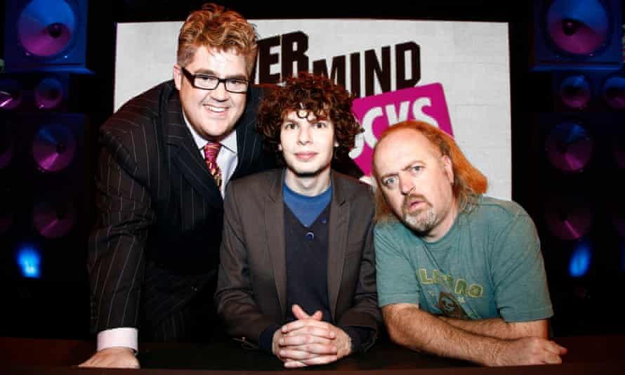 Middle man: Amstell with Phill Jupitus and Bill Bailey on Never Mind the Buzzcocks.