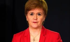 Scotland's first minister, Nicola Sturgeon, speaking during a government coronavirus briefing.