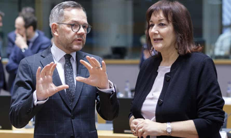 The EU's commissioner for demography, Dubravka Šuica, with Germany's Europe minister, Michael Roth