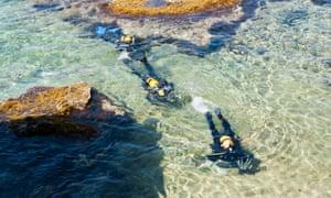 Scuba divers at Cirkewwa