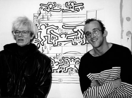 Andy Warhol and Keith Haring with their poster design for the 1986 Montreux jazz festival.