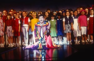 Phillip Schofield (centre) in Joseph and the Amazing Technicolor Dreamcoat at Hammersmith Apollo, 1996.