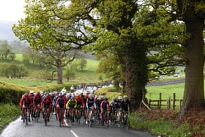 Riders make their way towards Bedale on stage one.
