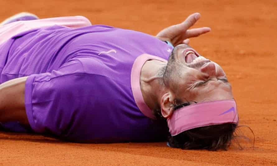 Rafael Nadal celebrates after beating Stefanos Tsitsipas in the final of the Barcelona Open last month.