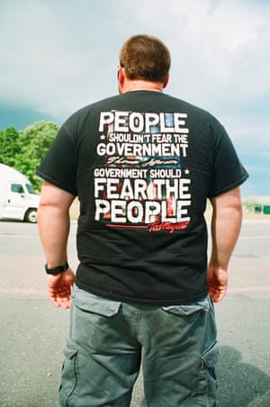 T-shirts adorned with political slogans photographed by Susan Barnett.