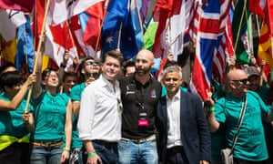 The US ambassador to the UK, Matthew Barzun (centre left), and the mayor of London, Sadiq Khan (centre right) open the Pride in London celebration