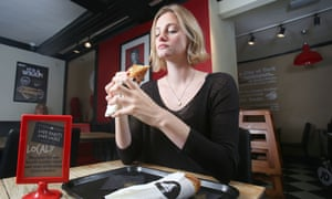 Journalist, Frances Perraudin, tries a yorkshire pudding wrap.