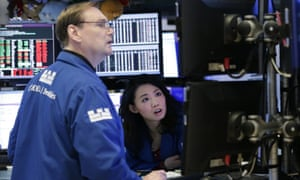 Traders on the Wall Street trading floor today, as stocks fell heavily
