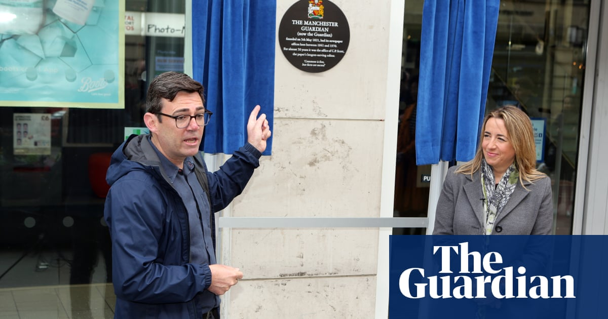 Plaque unveiled to mark the birth of the Manchester Guardian