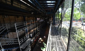 Tiny strip of space and light … the interior of Teatro Oficina