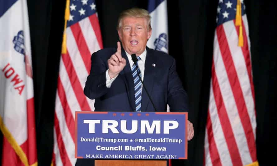 Donald Trump speaks during a campaign rally in Council Bluffs, Iowa
