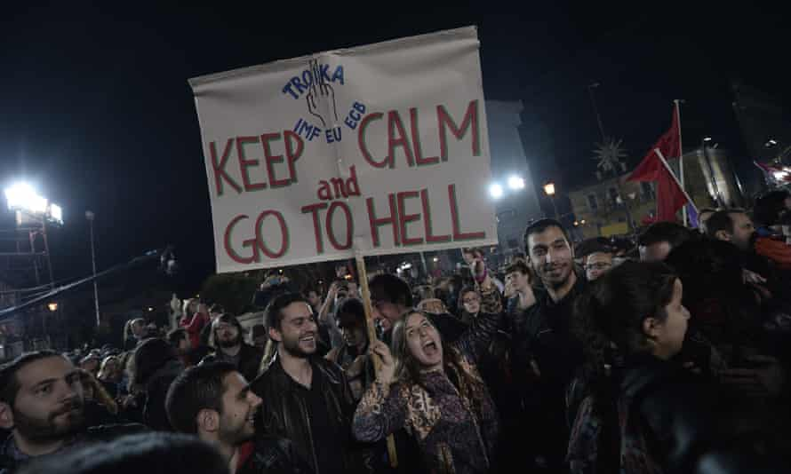 Anti-austerity Syriza supporters celebrate the party's victory in the Greek elections of January 2015.