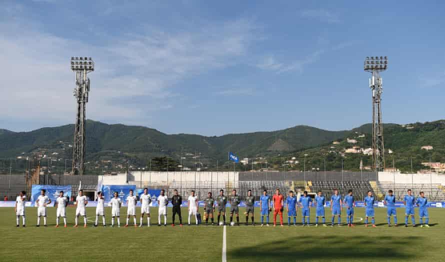 Italy and Ukraine line up before a match at the Simonetta Lamberti Stadium.