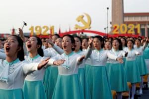 Performers rehearse in Beijing before the ceremonies