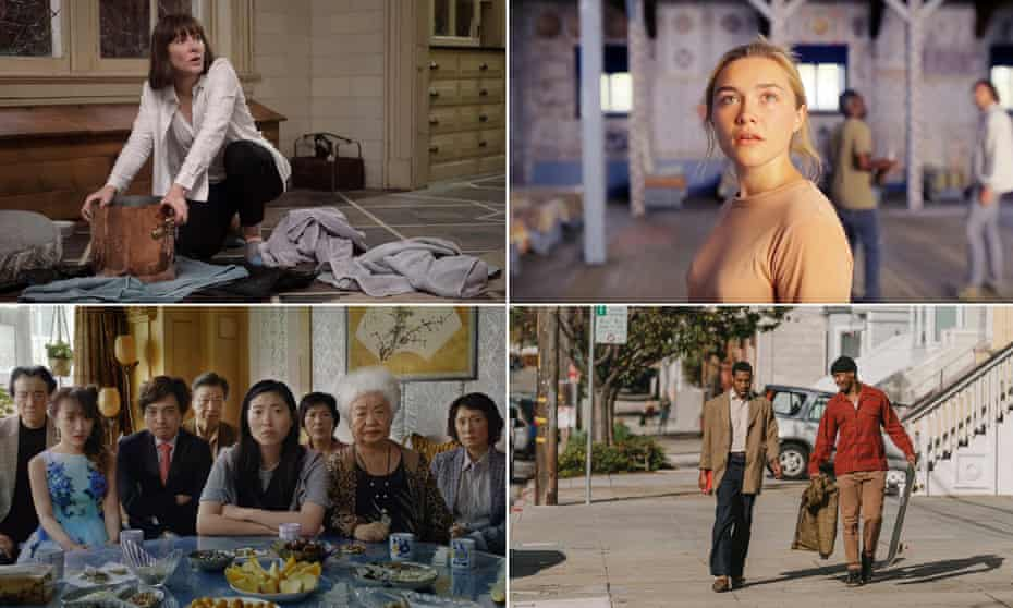 Clockwise: Cate Blanchett in Where'd You Go Bernadette; Florence Pugh in Midsommar; Jonathan Majors and Jimmie Falls in The Last Black Man in San Francisco; and Awkwafina and the cast of The Farewell.