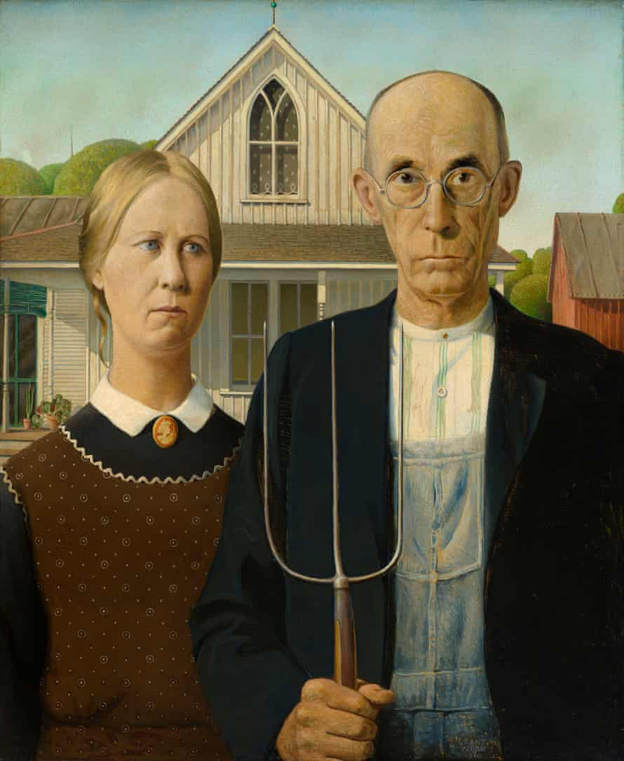 'Linear as a Botticelli': Grant Wood's American Gothic, 1930.