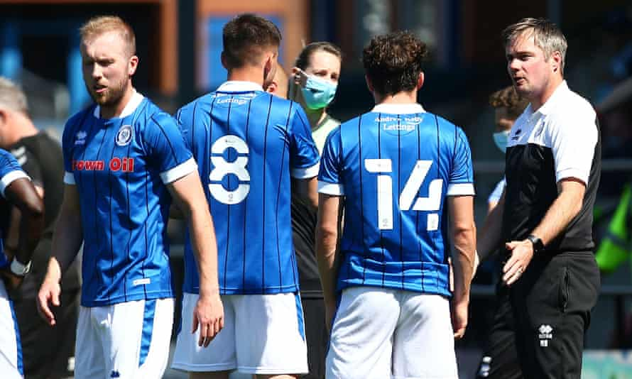 Robbie Stockdale, Rochdale's new manager, talks to his players at a friendly against Fleetwood