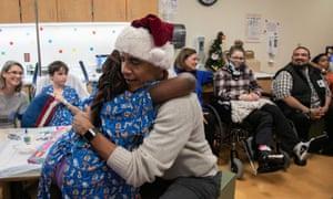 Obama in his Santa hat at the hospital in Washington.