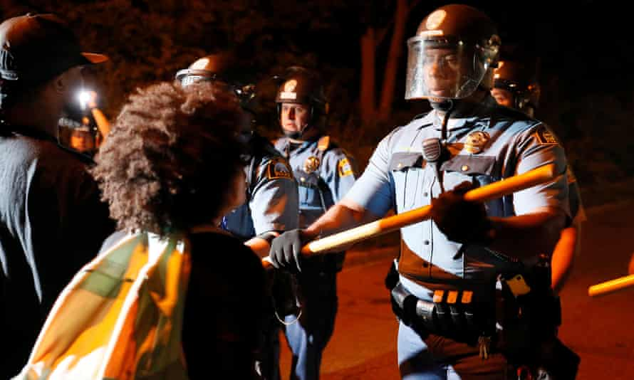 Protesters clash with law enforcement on I-94 in St Paul, Minnesota.